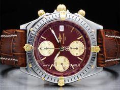 Breitling - Chronomat B13048 Cassa: acciaio/oro - 39 mm Ghiera: acciaio Vetro: zaffiro Colore quadrante: bordeaux Bracciale: pelle Chiusura: ardiglione Movimento: automatico