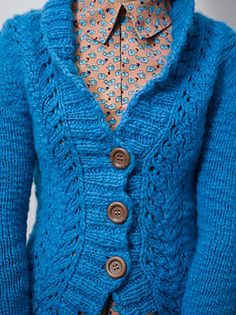 Camille Cardigan pattern by Gretchen Ronnevik. knitscene winter 2012. Women's cardigan with lace panels, worked in a super bulky singles yarn for fast knitting.