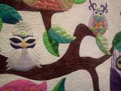 closeup of the quilting Owl Quilts, Stitches, Moose Art, Quilting, Animals, Stitching, Animales, Animaux, Stitch