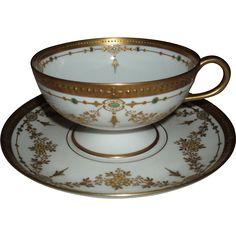 Antique Haviland Limoges Porcelain Teacup and Saucer With Enameled Jeweling