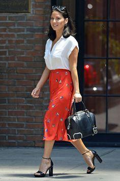 Olivia Munn, from tomandlorenzo.com - cap sleeve shirt w/ longer-length skirt. Lovely.