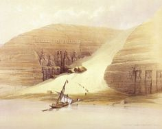 """hattorihanzo-swords:  Excavation of Temples at Abu Simbel (David Roberts, 1839)""""We clambered and slid through the avalanche of sand, which now separates the two temples. There they sit, the four mighty colossi. Before sunrise we were watching for the first rays. The day broke; the top of the rock became golden - the golden rays crept down - one colossus gave a radiant smile, as his own glorious sun reached him.""""Florence Nightingale (Letters from Egypt: A Journey on the Nile, 1849-1850)"""