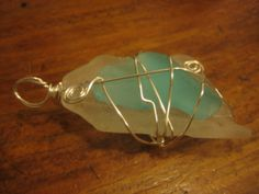 Silver Wire Wrapped Double Sea Glass Pendant! One- of-a-kind!