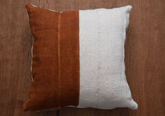 """I wonder if this would look good in the basement as a pop/ contrast  Authentic African Mudcloth Pillow Cover,  Tribal pillow cover for 20"""" x 20"""" Pillow Inserts - REF: plain white & rust - Made to order"""