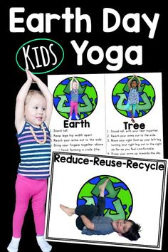 Earth Day Yoga is the perfect Earth Day Activity!  Pose like a tree, the earth or have fun reducing, reusing, and recycling.  Add Earth Day Yoga to your Earth Day Activities and use everyday!