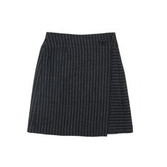 striped charcoal skirt ($22) ❤ liked on Polyvore featuring skirts, bottoms, faldas, striped skirt, wrap skirt, striped flare skirt, knee length pleated skirt and button front skirt