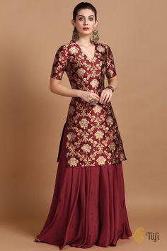 Party Wear Indian Dresses, Designer Party Wear Dresses, Indian Gowns Dresses, Dress Indian Style, Indian Fashion Dresses, Indian Designer Outfits, Indian Dresses For Women, Designer Wear, Silk Kurti Designs