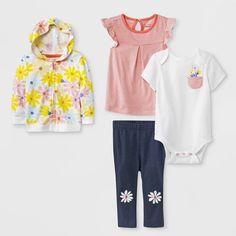 dba88f5a7 Baby Girls' Bodysuit, Tunic, Hoodie and Leggings Set - Cat & Jack™  Peach/White/Blue 18M