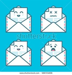Set of smile emoji emoticon face in email with a lot of variation. Modern flat icons design.