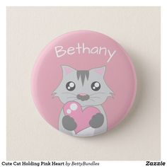 Cute Cat Holding Pink Heart Personalised Girl's Pinback Button