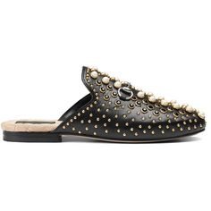 Gucci Princetown Studded Leather Slipper (5.635 RON) ❤ liked on Polyvore featuring shoes, slippers and black