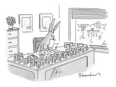 607295b68 A rabbit sits at an office desk, the edges of which are lined with numerou?  - New Yorker CartoonBy Danny Shanahan