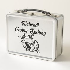 Retired Going Fishing Black Text Metal Lunch Box   fishing diy gifts, fishing boats, fishing ornaments diy #customrods #retirementgift #birthdaygift, 4th of july party