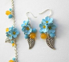 Light blue earrings and bracelet  Handmade jewelry by insoujewelry, $39.00