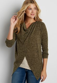 asymmetrical cardigan with embroidered mesh back yoke   maurices