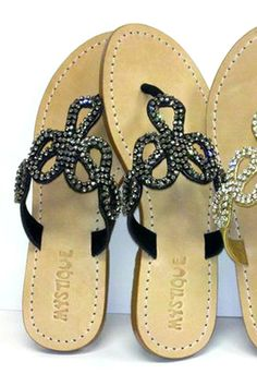 Jeweled Snake Sandal in Black with Smoke Rhinestones at cottonisland
