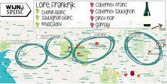 Wijngebied Loire Frankrijk - hoe zat dat ook alweer?   Witte Druivensoorten: o.a. Chenin Blanc, Sauvignon Blanc en Muscadet   Rode Druivensoorten: o.a. Cabernet Sauvignon, Pinot Noir en Gamay.