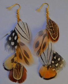 Into the wild earrings + feathers  Boucles d'oreilles en plumes, inspiration safari.