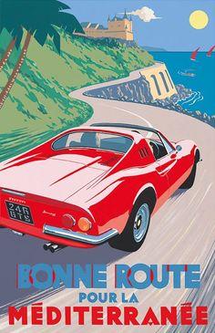 PEL402: '#Ferrari Dino 246 gt – Bonne Route pour la Méditerranée' by Charles Avalon - Vintage #car posters  - Art Deco - Pullman Editions - #Ferrari