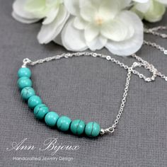 Delicate Turquoise Necklace, Sterling Silver Turquoise Necklace, Turquoise Layered Necklace, Natural Turquoise Necklace, Mother Necklace by ANNBIJOUXNEWYORK on Etsy