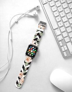 Apple Watch Band 38mm women, Apple Watch band 42mm for 1 & 2, Apple Watch Strap genuine Calf Leather Wrist Band chevron rose flowers floral