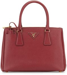 $2,100, Burgundy Leather Tote Bag: Prada Saffiano Lux Small Double Zip Tote Bag Wine. Sold by Neiman Marcus. Click for more info: https://lookastic.com/women/shop_items/278563/redirect