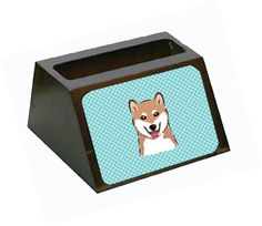 Checkerboard Blue Shiba Inu Decorative Desktop Wooden Business Card Holder
