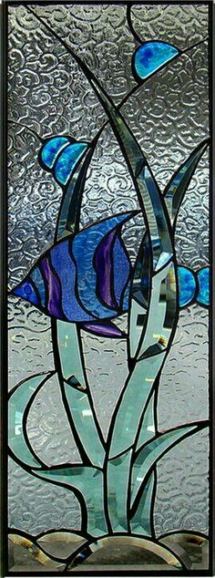 leaded glass window panel w/blue stained glass fish design ♥ Stained Glass Quilt, Faux Stained Glass, Stained Glass Designs, Stained Glass Panels, Stained Glass Projects, Stained Glass Patterns, Leaded Glass, Mosaic Glass, Dragonfly Stained Glass