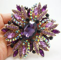 New Vintage Gorgeous Purple Flower Gold-plated Brooch Pin Rhinestone Crystal #Unbranded #VintageJewelry