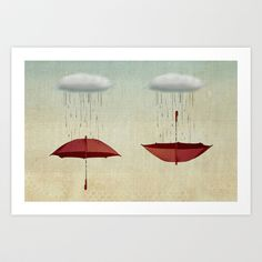 embracing the rain Art Print by Vin Zzep - $18.00