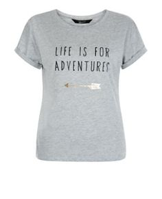 T-shirt ado gris imprimé Life Is For Adventure | New Look