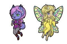 Chibi versions of the characters Shifra and Megandel. Cute little morwulf and adorable faerie--how can you resist? Faeries, Chibi, Dragon, Characters, Fantasy, Adventure, Cute, Pictures, Photos