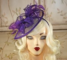 Purple Fascinator  Purple Kentucky Derby Hat  by MadameMerrywidow