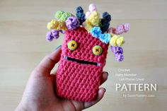 Crochet Pattern Hairy Monster Cell Phone Cover by ZoomYummy, $3.90