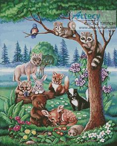 Forest Friends Counted Cross Stitch Pattern http://www.artecyshop.com/index.php?main_page=product_info&cPath=74_76&products_id=949
