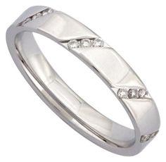 Orest - B3806/DG/12/DT : Alliance Femme Or 18K blanc et Diamant - Taille 50