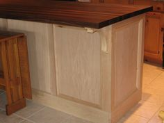 DIY kitchen island made from raising a craigslist buffet up to