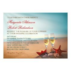 Tropical Wedding Invitation Sunset Beach Romantic Wedding Invitations