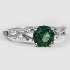 18K White Gold Sapphire Willow Diamond Ring // Set with a 6.5mm Premium Green Round Sri Lankan Sapphire