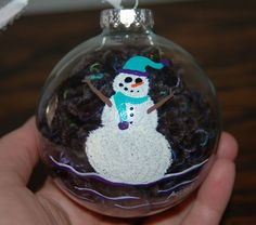 Snowman and Yarn Christmas Ornament Hand Painted by Ann Lihl