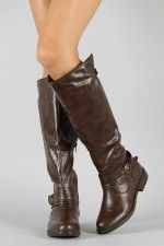 Bamboo Montage-08 Riding Buckle Knee High Boot