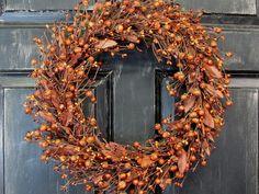 Rustic Door Decor   Pumpkin Berry Wreath  Fall by Designawreath, $57.95