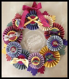 Fall Rosette Wreath - get the tutorial & video link by placing a $20 or more order at www.SimplySimpleStamping.com.  There's more!  You'll get 6 video links when you place the order for other fabulous projects by Connie Stewart & Josee Smuck!