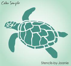 Turtle STENCIL Ocean Sealife Sand Beach Animal Tortoise Wall Art Tattoo U Paint #StencilsbyJoanie
