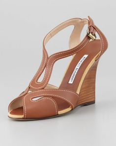 Bran Strappy Leather Wedge Sandal, Luggage by Manolo Blahnik at Neiman Marcus.