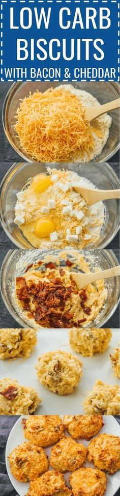 Low carb biscuits with bacon and cheddar | Biscuits can be delicious and healthy -- like these easy homemade biscuits made with almond flour, cheddar cheese, and bacon. keto / low carb / diet / atkins / induction / meals / recipes / easy / dinner / lunch