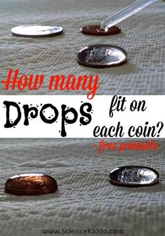 Explore surface tension by dripping drops of water on a coin in this quick and easy science experiment for kids. Includes a free printable chart to keep track of the results!