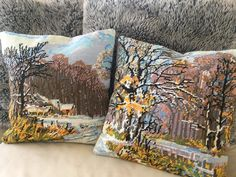 """Two upcycled vintage needlepoints remade into 14"""" cushion covers for today available at KindredClassics on Etsy Needlepoint Kits, Neutral Palette, Upcycled Vintage, Cushion Covers, Beautiful Hands, Hand Stitching, Cushions, Tapestry, Throw Pillows"""
