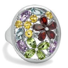 Multi Semi-Precious Flower Cluster Ring in Sterling Silver - Size 7 - View All Rings - Zales