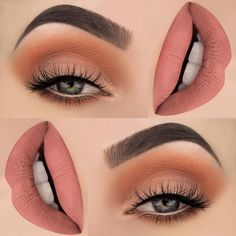 There are a lot of people who nowadays are applying cosmetics using their fingers, in my opinion it looks a lot better if applied using a make-up brush. This article describes the reasons for this and looks at the types of make-up bru Pretty Makeup, Love Makeup, Makeup Inspo, Makeup Inspiration, Hair Makeup, Makeup Ideas, Peach Makeup, Stunning Makeup, Makeup Looks For Red Dress